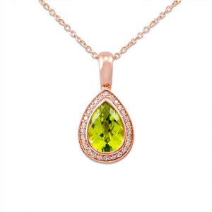 Peridot Necklace with Diamonds in 14K Rose Gold