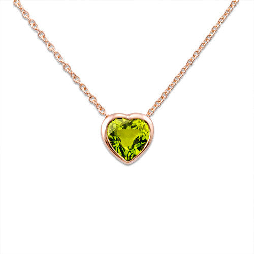 Peridot Necklace in 14K Rose Gold