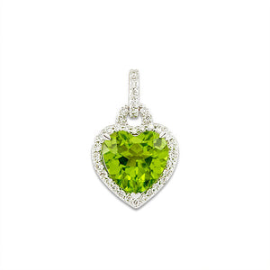 Peridot Heart Pendant with Diamonds in 14K White Gold