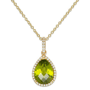 Peridot Necklace with Diamonds in 14K Yellow Gold