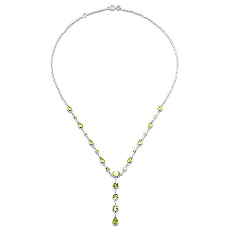 Peridot Necklace in 14K White Gold