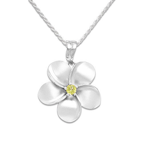 Plumeria Necklace with Peridot in Sterling Silver - 28.5mm