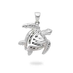 Honu Turtle Pendant in Sterling Silver - 19mm