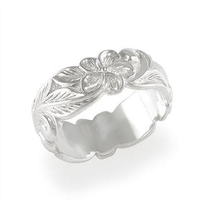 HAWAIIAN HEIRLOOM PLUMERIA SCROLL 8MM RING IN STERLING SILVER