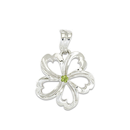 Plumeria Pendant with Peridot in Sterling Silver - 18mm
