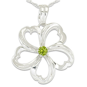 Plumeria Necklace with Peridot in Sterling Silver - 30mm