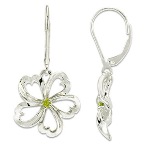 Plumeria Earrings with Peridot in Sterling Silver - 18mm