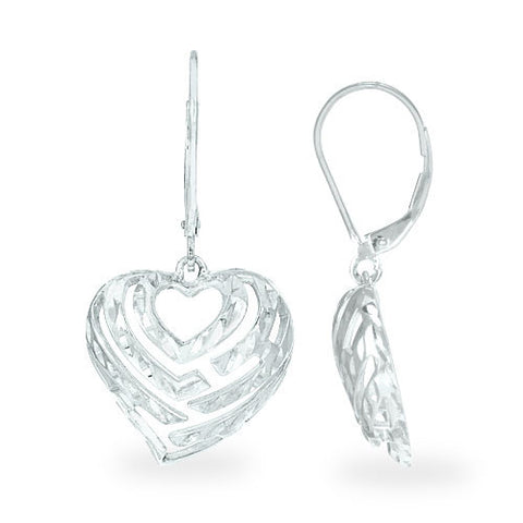 Aloha Heart Earrings in Sterling Silver - 18mm