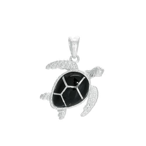 Black Coral Turtle Pendant in Sterling Silver - 19mm