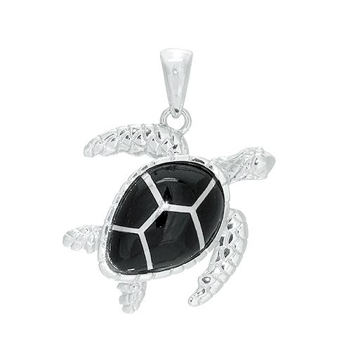 Black Coral Turtle Pendant in Sterling Silver - 26mm