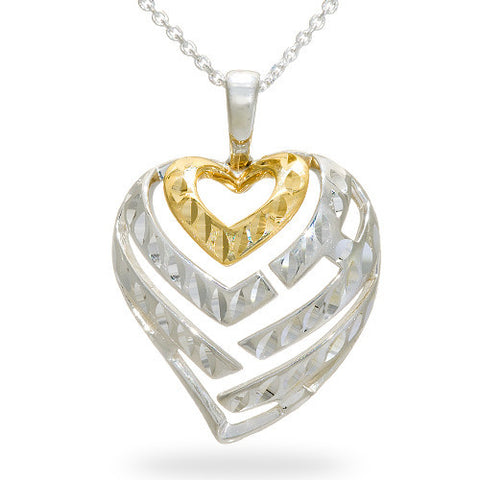 Aloha Heart Necklace in Sterling Silver & 14K Yellow Gold - 24mm