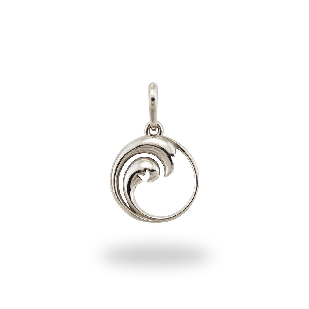 Nalu Double Wave Charm/Pendant in Sterling Silver - 12mm