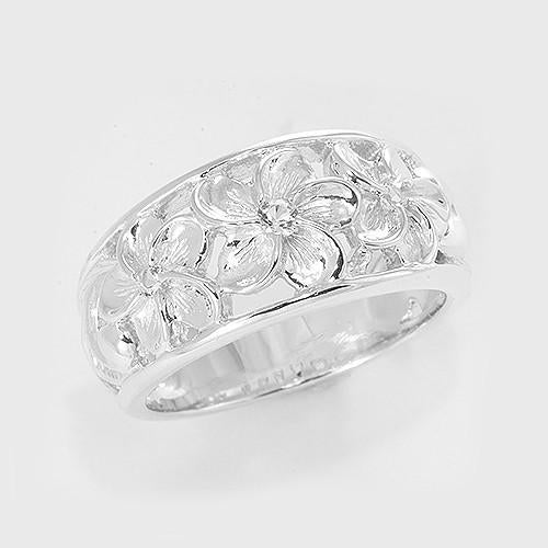 Hawaiian Heirloom Plumeria Scroll 11mm Ring with White Sapphire in Sterling Silver