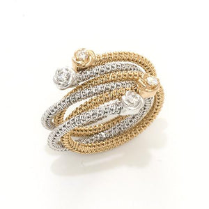 Flower Spiral Ring with Diamonds in 18K Two Tone Gold 047-00862