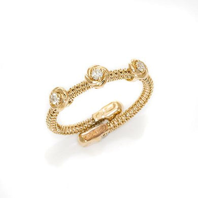 Flower Spiral Ring with Diamonds in 18K Rose Gold 043-00863