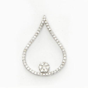Diamond Floating Flower Pendant in 14K White Gold 047-01267