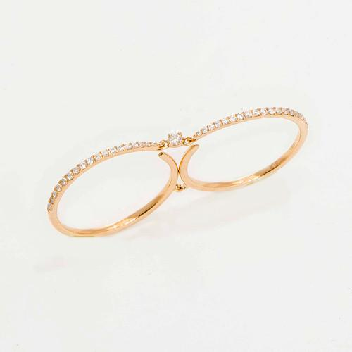 Double Band Diamond Ring in 14K Rose Gold 047-03276