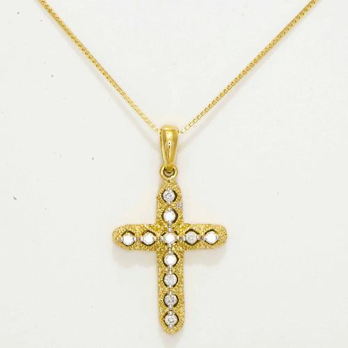 Cross Necklace with Diamond in 14K Two-Tone Gold 047-57197