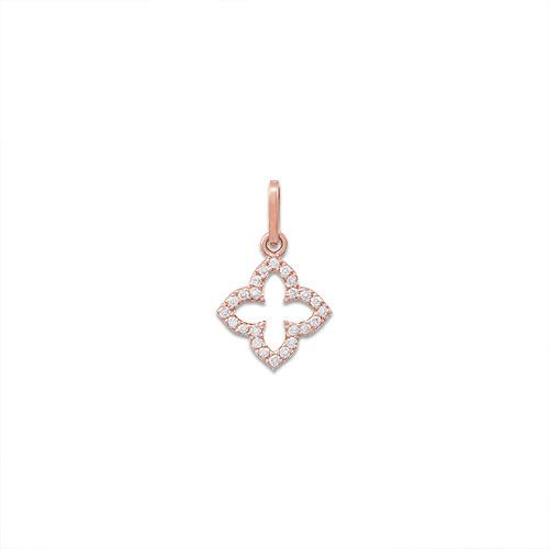 Diamond Clover Pendant in 14K Two-Tone Gold
