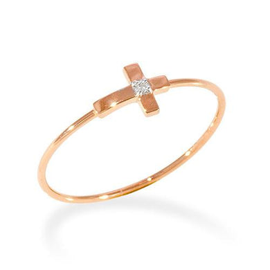 Cross Ring with Diamond in 14K Rose Gold