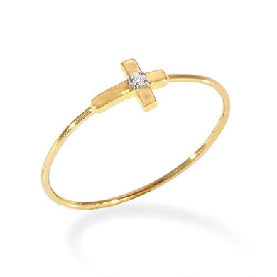 Cross Ring with Diamond in 14K Two-Tone Gold