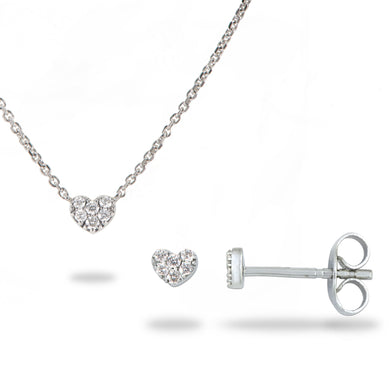 Diamond Heart Necklace & Earrings in 14K White Gold