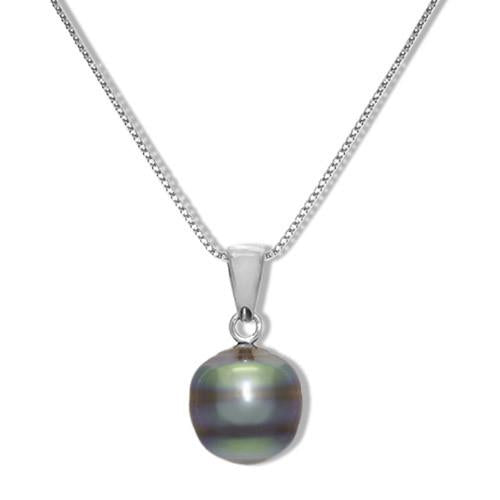 Tahitian Black Pearl Necklace in Sterling Silver (8-10mm)