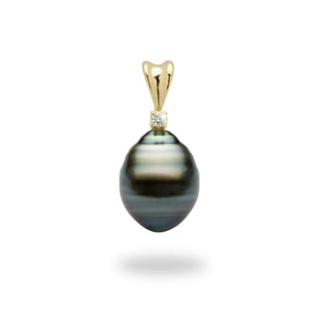 Tahitian Black Pearl Pendant with Diamond in 14K Yellow Gold (9mm)