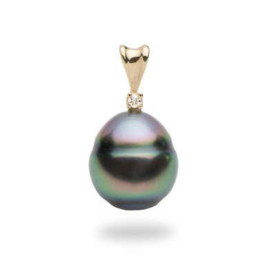 Baroque Tahitian Pearl Pendant with a Diamond in 14K Yellow Gold