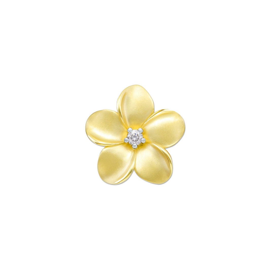 PLUMERIA PENDANT WITH DIAMOND IN 10K YELLOW GOLD - 16MM