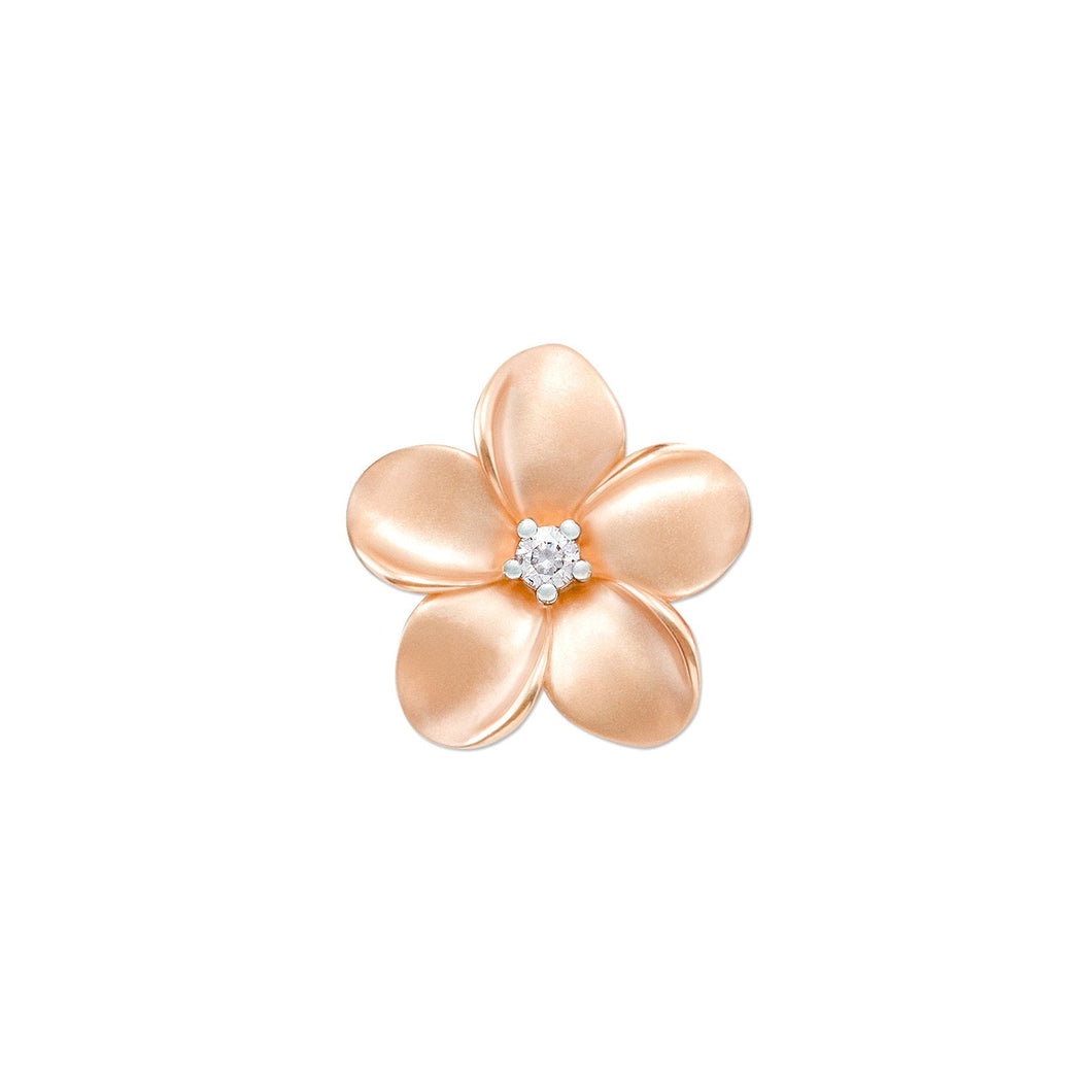 PLUMERIA PENDANT WITH DIAMOND IN 10K ROSE GOLD - 16MM