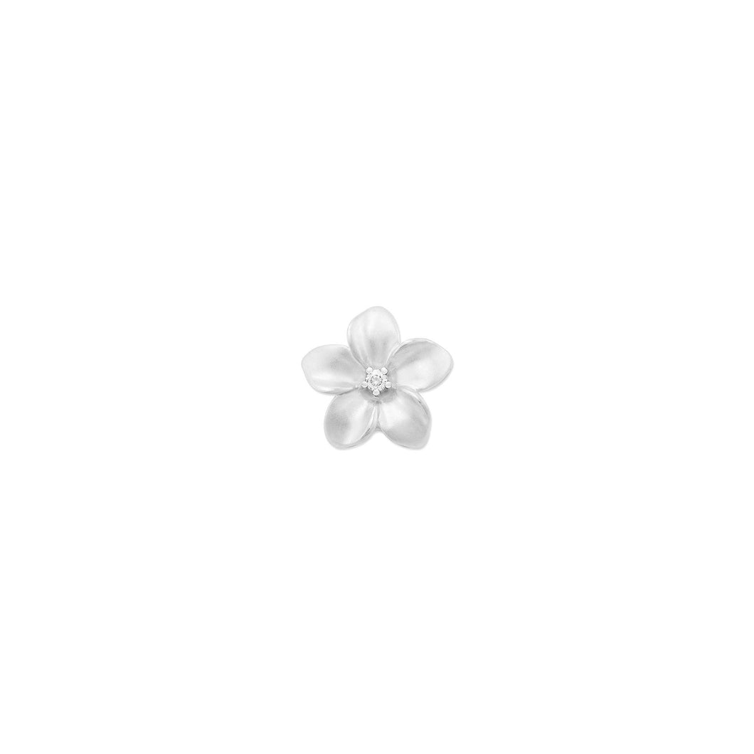 PLUMERIA PENDANT WITH DIAMONDS IN 10K WHITE GOLD - 9MM