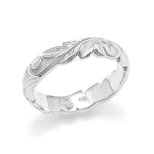 Old English Scroll 4.5mm Ring in 14K White Gold - Sizes 6.75-7.25