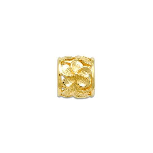 Plumeria Scroll 9mm Slide Pendant in 14K Yellow Gold