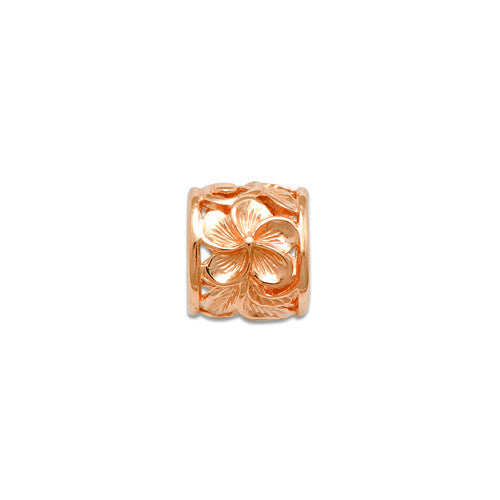 Plumeria Scroll 9mm oval pendant in 14K pink gold