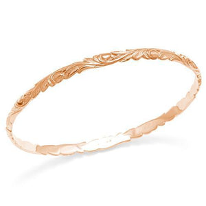 HAWAIIAN HEIRLOOM OLD ENGLISH SCROLL 4.5MM BRACELET IN 14K ROSE GOLD