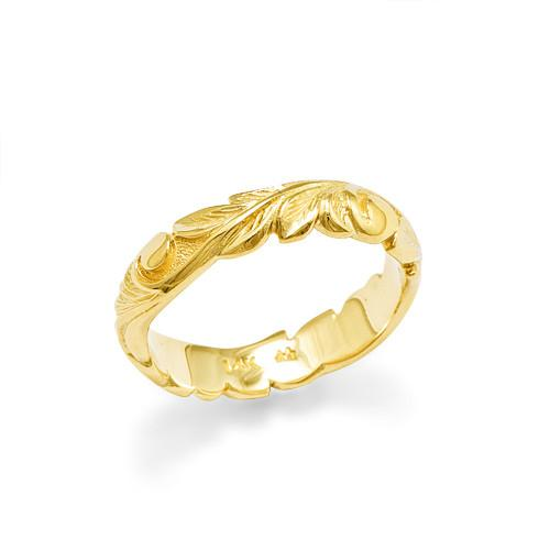Old English Scroll 4.5mm Ring in 14K Yellow Gold - Sizes 3.75-4.5