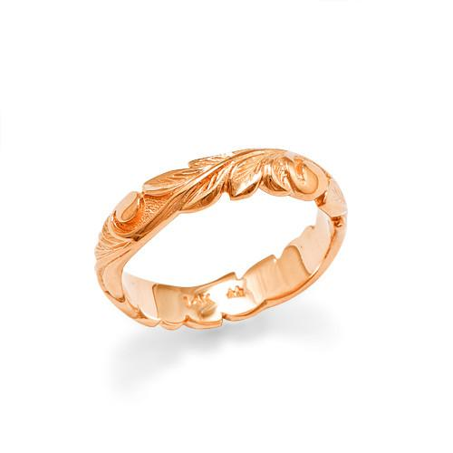 Old English Scroll 4.5mm Ring in 14K Rose Gold - Sizes 3.75-4.5