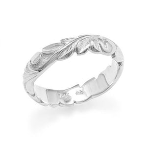 HAWAIIAN HEIRLOOM OLD ENGLISH SCROLL IN 4.5MM RING IN 14K WHITE GOLD