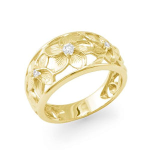 Plumeria Scroll 11mm Ring with Diamonds in 14K Yellow Gold