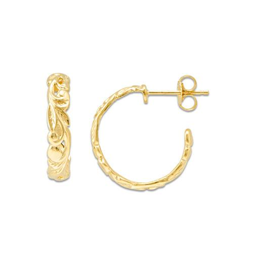 Maile Scroll 4mm Earrings in 14K Yellow Gold - Small