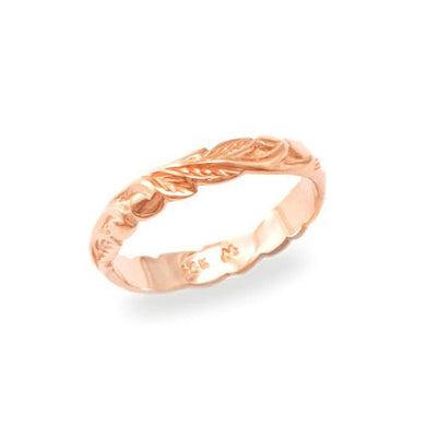 Old English Scroll 3mm Ring in 14K Rose Gold - Size 4