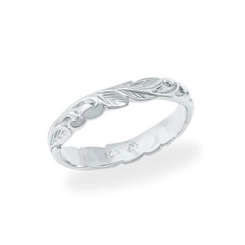 HAWAIIAN HEIRLOOM OLD ENGLISH SCROLL 3MM RING IN 14K WHITE GOLD