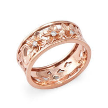 画像をギャラリービューアに読み込む, Hawaiian Heirloom Plumeria Scroll 8mm Ring with Diamonds in 14K Rose Gold