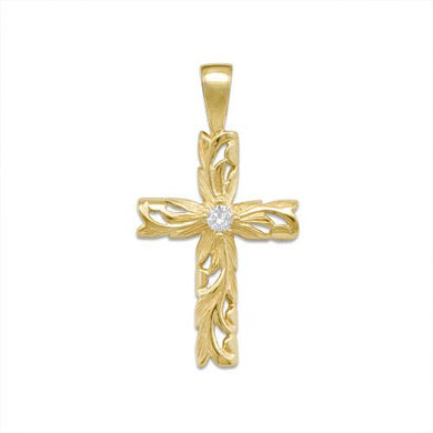 HAWAIIAN HEIRLOOM OLD ENGLISH SCROLL CROSS PENDANT WITH DIAMOND IN 14K YELLOW GOLD