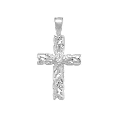 Old English Scroll Cross Pendant with Diamond in 14K White Gold - Medium 074-00318