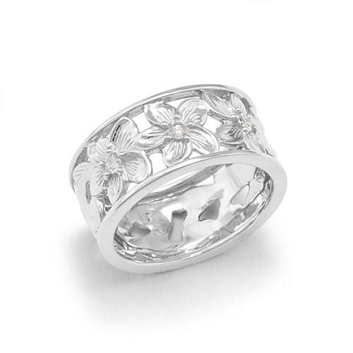 Plumeria Scroll 8mm Ring with Diamonds in 14K White Gold - Size 4