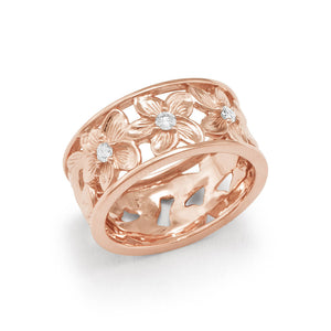 Hawaiian Heirloom Plumeria Scroll 8mm Ring with Diamonds in 14K Rose Gold