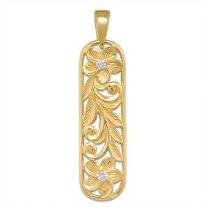 HAWAIIAN HEIRLOOM PLUMERIA SCROLL PENDANT WITH DIAMOND IN 14K YELLOW GOLD