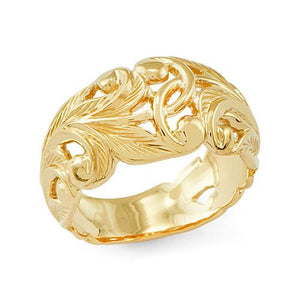 Old English Scroll 11mm Ring in 14K Yellow Gold